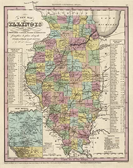 Amazon 1841 world atlas a new map of illinois with its roads 1841 world atlas a new map of illinois with its roads distances from place gumiabroncs Image collections