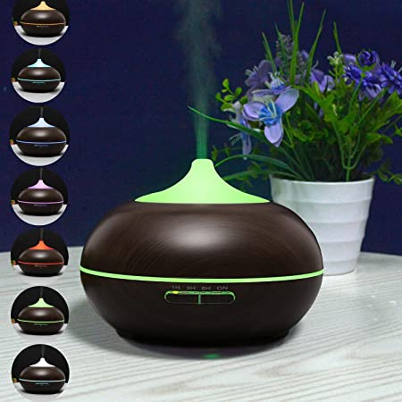 Purchased Portable 7 color Changing LED Light Aroma Oil Difuser 300ml Wood Grain Aromatherapy Air Humidifier Black UK Plug