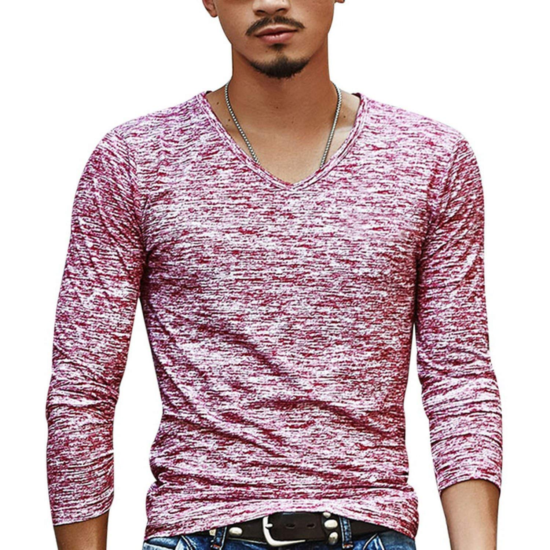 Slim Streetwear V Neck Casual Fitness Vintage Long Sleeve Pullover Shirt
