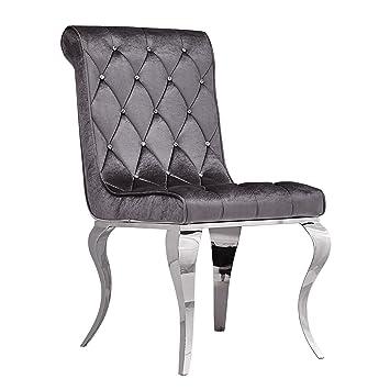 Antyki24 Glamour Stuhl Barock Sessel Chrome Chair Esszimmerstuhl