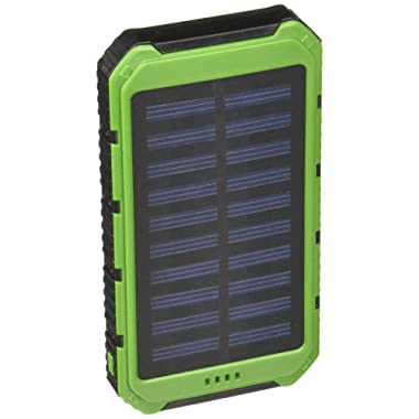 Creative Edge Solar Charger (TM) Solar-5 Solar Panel 5000mAh Water/Shock/ Dust Resistant Portable Backup Power Bank Dual USB output, Fits most USB-charged devices (Apple Lightning Adapter Included)