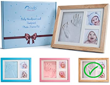 Premium Casting No Mold Clay Wall//table Baby Handprint /& Footprint Photo Frame Kit Free Stamp Set- Blue Box Ready for Boy Girls Baby Shower Gifts Newborn Keepsake Personalized Picture Frames