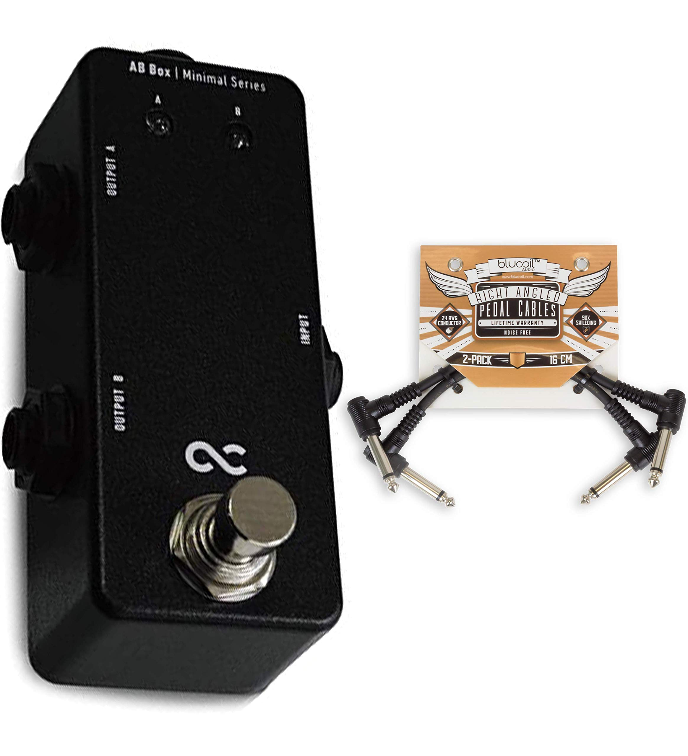 One Control Minimal Series AB Box Bundle with 2-Pack of Blucoil Pedal Patch Cables
