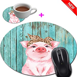 Mouse Pad and Coaster Set, Cute Sitting Pig Mouse Pad Round Non-Slip Rubber Mousepad Office Accessories Desk Decor Mouse Mat for Desktops Computer Laptops