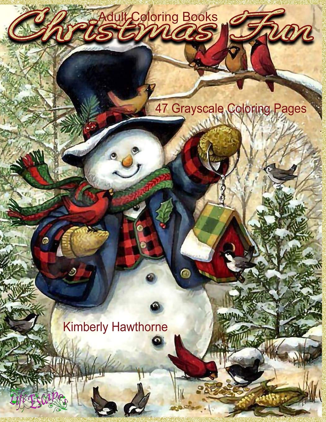 Adult Coloring Books Christmas Fun 47 Grayscale Coloring Pages ...