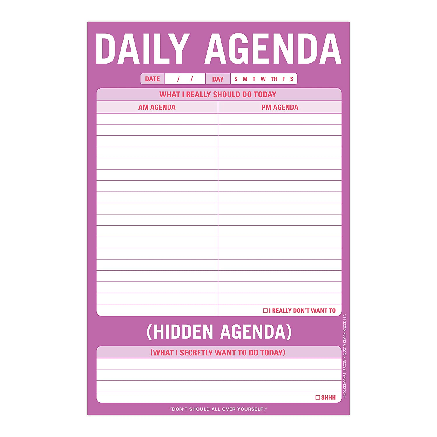 Knock Knock Daily Agenda / Hidden Agenda Pad, To Do List Note Pad, 6 x 9-inches