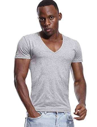 ea416631e53d79 Deep V Neck T Shirt for Men Low Cut Stretch Tee Invisible Vee Top Short  Sleeve: Amazon.co.uk: Clothing