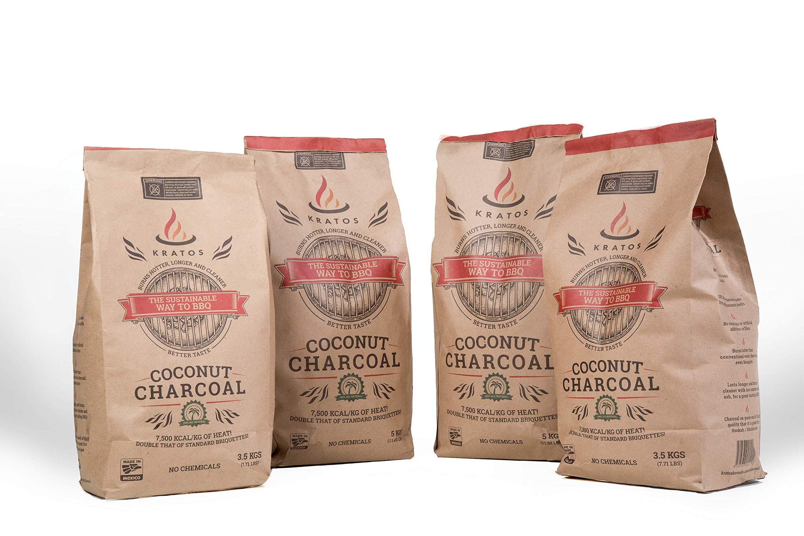 Kratos BBQ Coconut Shell Charcoal Briquettes - All Natural High End Grilling (11 Pound Bag, 4-Pack)
