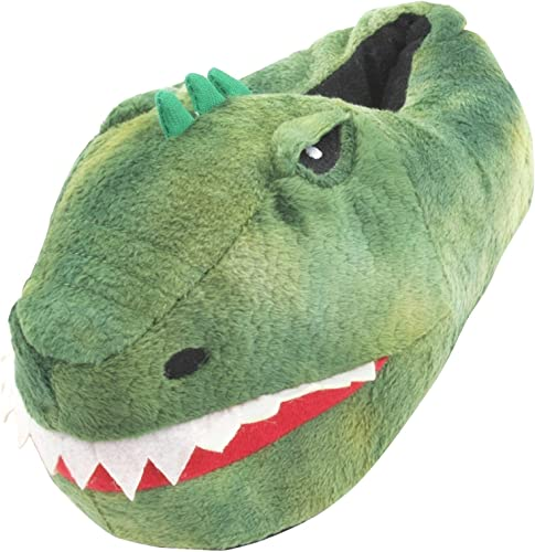 Slumberzzz Childs Kids Green Dinosaur Head Slippers