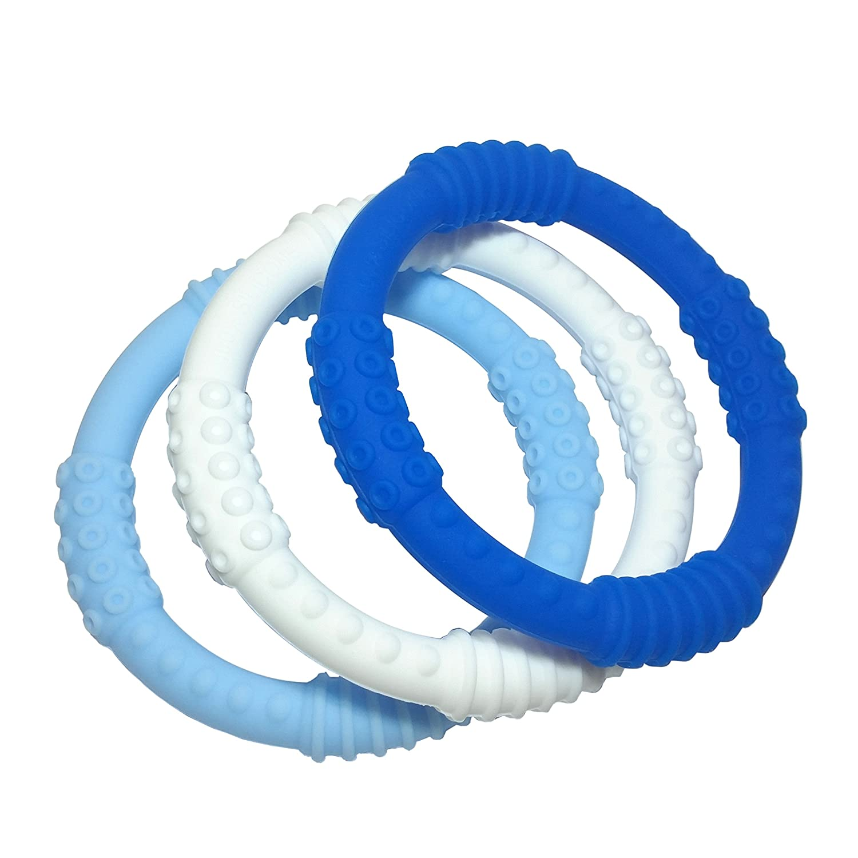 mooi baby Teething Ring 3 Pack Baby Teether Rings Baby Teething Rings No BPA 100/% Silicone Infant Teether Non-Toxic Soothing Gums BOY Baby Teether Teether Bracelet Sensory Rings