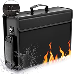 """SafeHaven Lockable 17""""x12""""x5.5"""" Fireproof Document Bag – XL Water-Resistant Fireproof Bag with Zipper and Velcro - Easy to Store and Carry Important Document Holder - Fireproof Money Bag"""