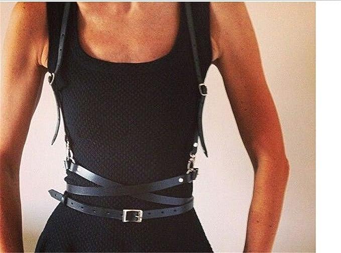 Smilesi Nueva sexy mujer hombre cinturones de cuero delgado cuerpo ...