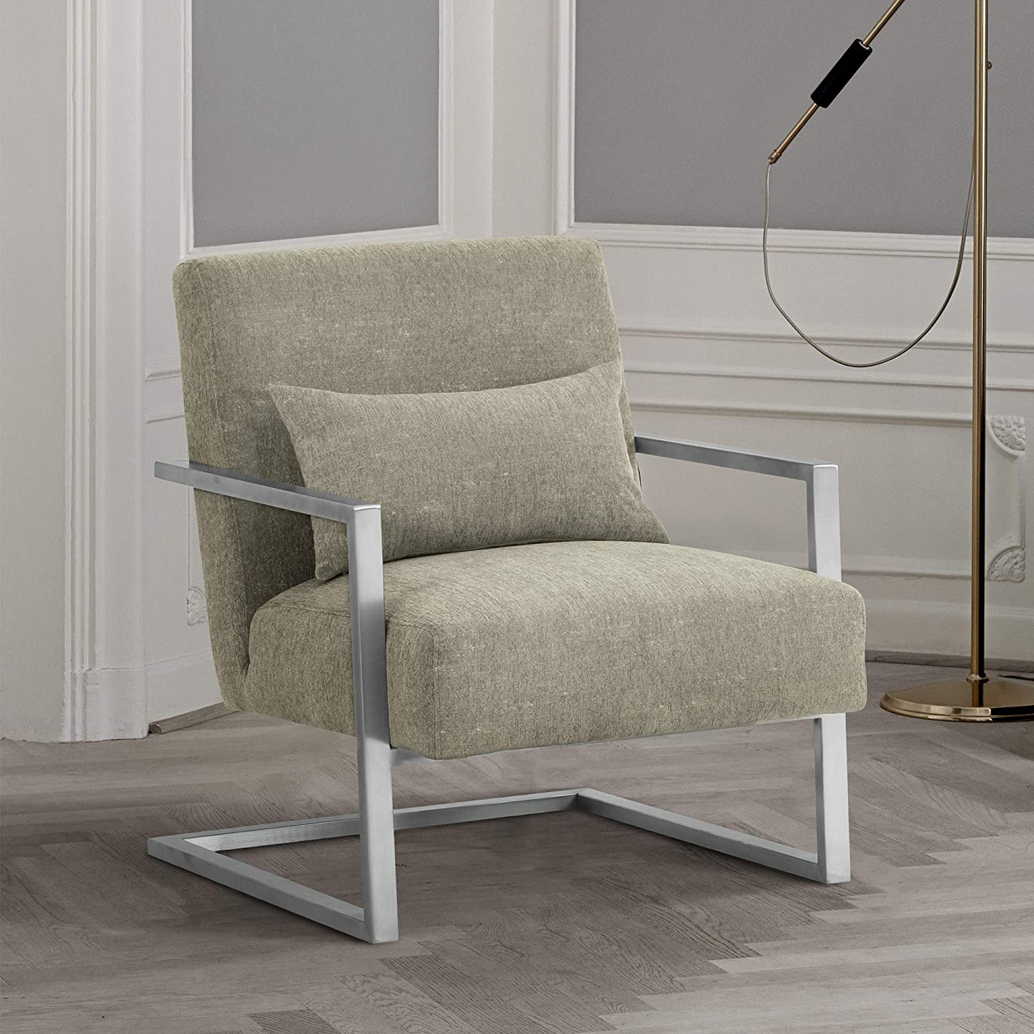 Armen Living Skyline Club Chair in Grey Linen and Brushed Stainless Steel Finish