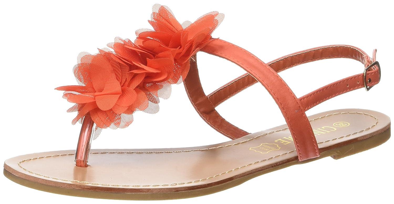 Nu-pieds oranges plats avec entre doigt décor fleurs en tissu cheap