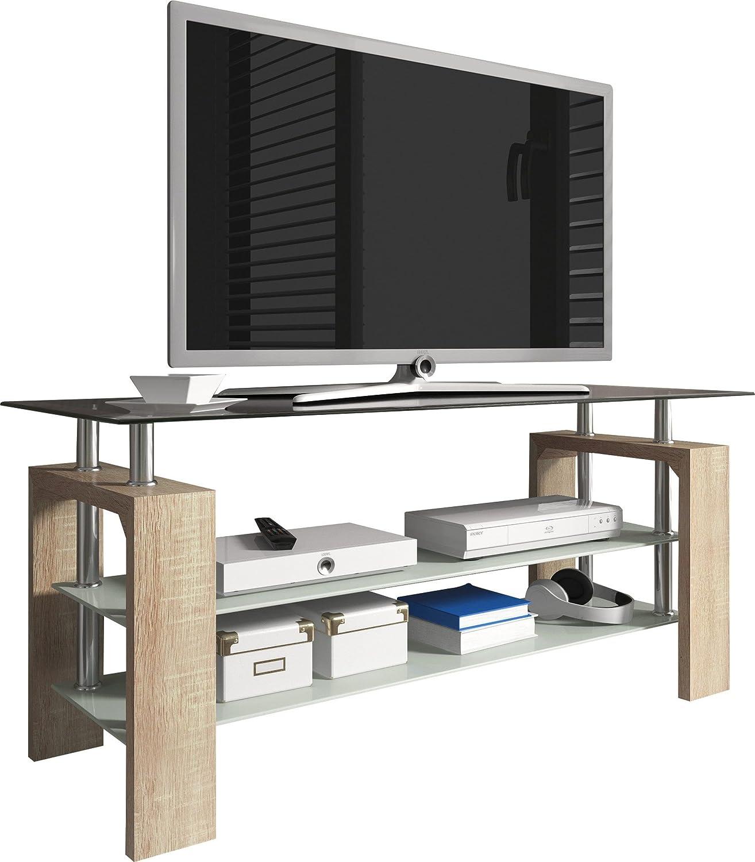 Meuble Tv Design 3 Plateaux En Verre 110 Cm Coloris Sonoma Amazon  # Meuble Tv En Verre Transparent