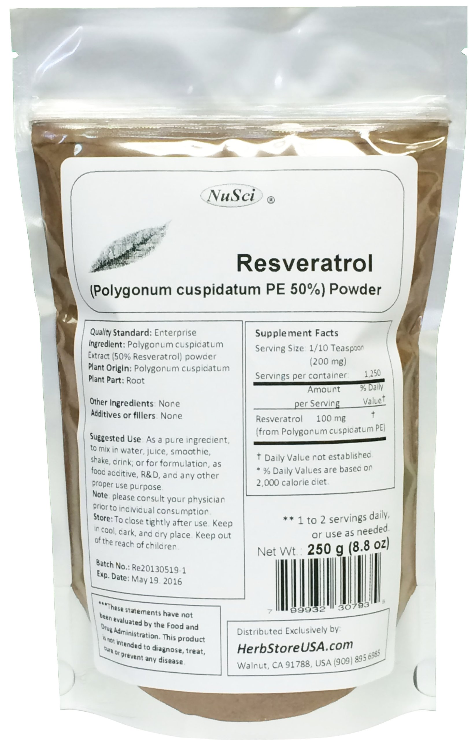 NuSci Pure Resveratrol Powder Standardized Extracted from Polygonum Cuspidatum Root (250 grams (8.8 oz)) by NuSci (Image #1)