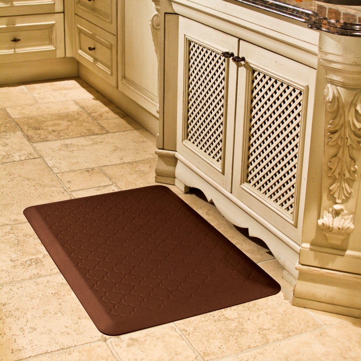 Amazon.com: WellnessMats Anti Fatigue 36 Inch By 24 Inch Trellis Motif Kitchen  Mat, Brown: Kitchen U0026 Dining