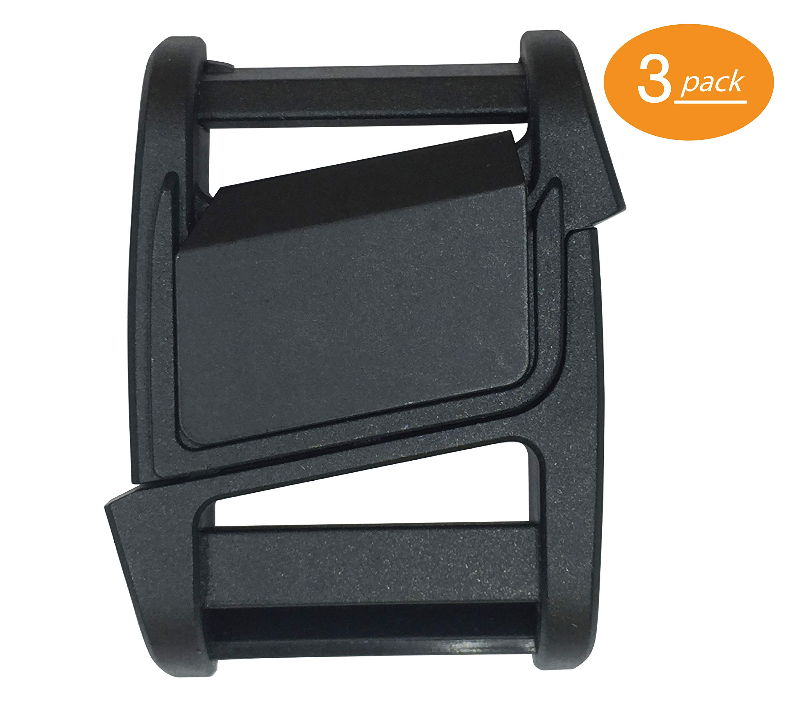 Fidlock Magnetic Buckle Slider - Plastic Quick Release Buckle Replacement - Black (25mm) (Pack of 3) by Fidlock