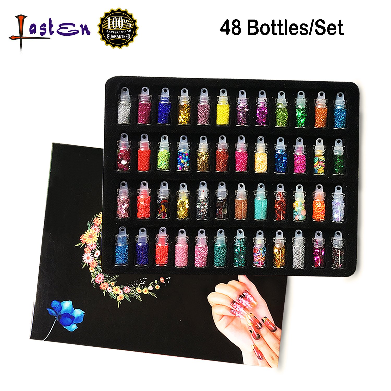 48 Bottles Glitter Shake Jars Set by Lasten , Glitter Powder Sequins for Slime Making,3D Nail Art Decoration, Eye Hair Face Body Makeup, Phones,Cards,Scrapbook, Party Invitation Lasten-US