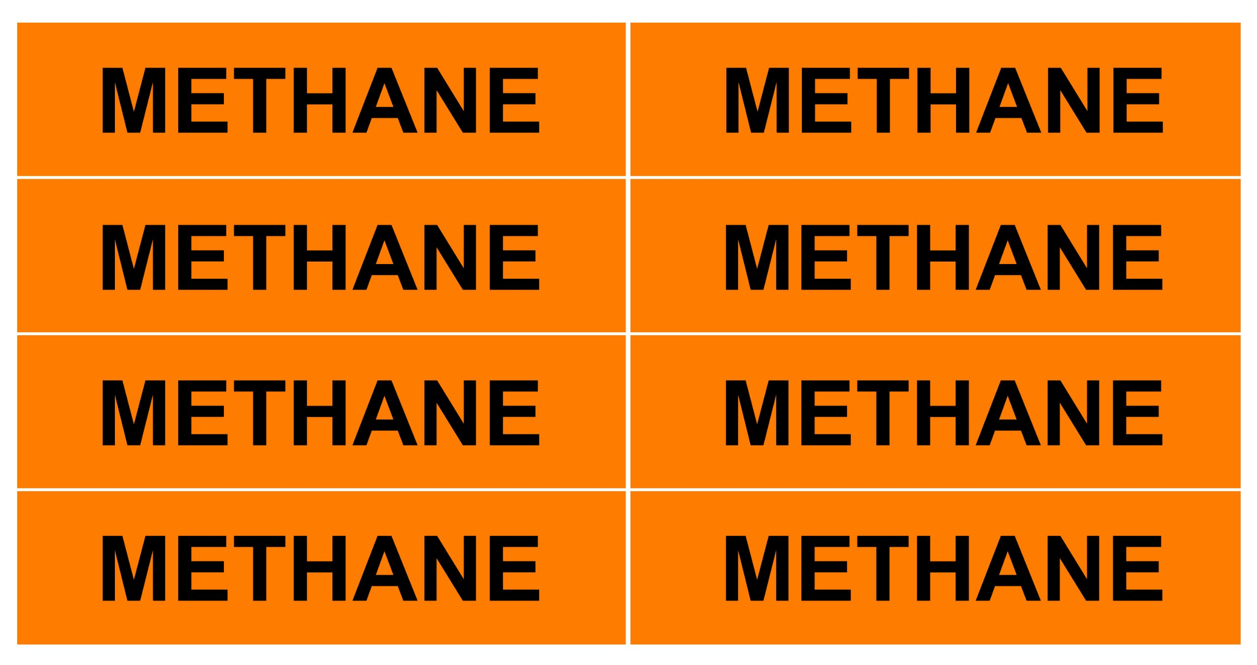 METHANE_Gas Pipe Tubing Labels_ <PACKAGE OF 16 LABELS> 3/4'' Height, 3'' Width, Black Letters on Orange Background, TEMPO GAS SYSTEMS High-visibility, Industry-standard Information and Safety Labels