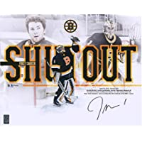 "$44 » Jeremy Swayman Boston Bruins Autographed 16"" x 20"" First NHL Shutout Stylized Photograph - Autographed NHL Photos"