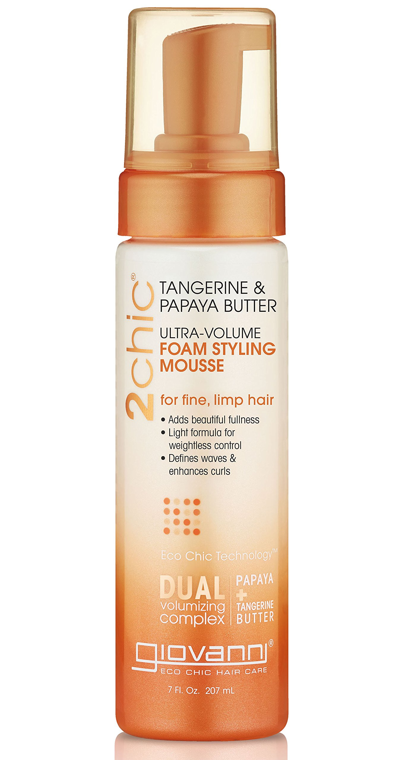 GIOVANNI- 2chic Ultra Volume Foam Styling Mousse With Tangerine And Papaya Butter- For Fine Hair (7 Fluid Ounce)