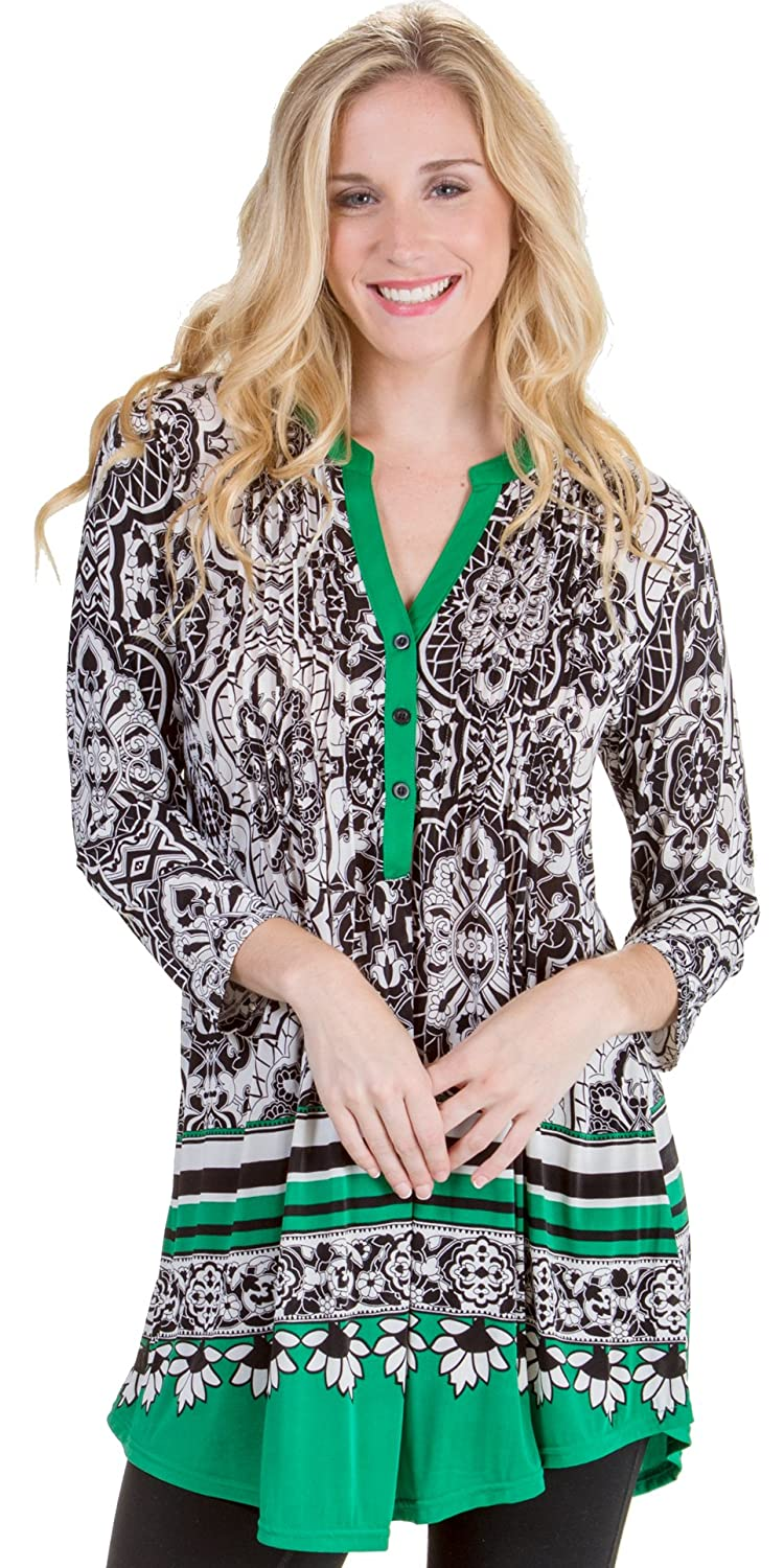 eaddaf3315ee73 La Cera Plus Tops Poly Blend 3 4 Sleeve Silky Tunic in Emerald Chic  (Black White Green