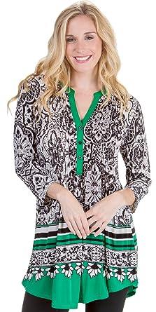 094803b488e La Cera Plus Tops Poly Blend 3/4 Sleeve Silky Tunic in Emerald Chic ...