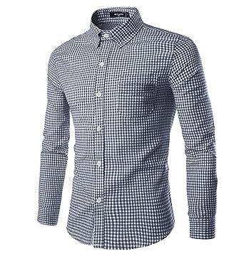 NUTEXROL Men Plaid Cotton Casual Slim Fit Long Sleeve Button Down Dress  Shirts Navy X-