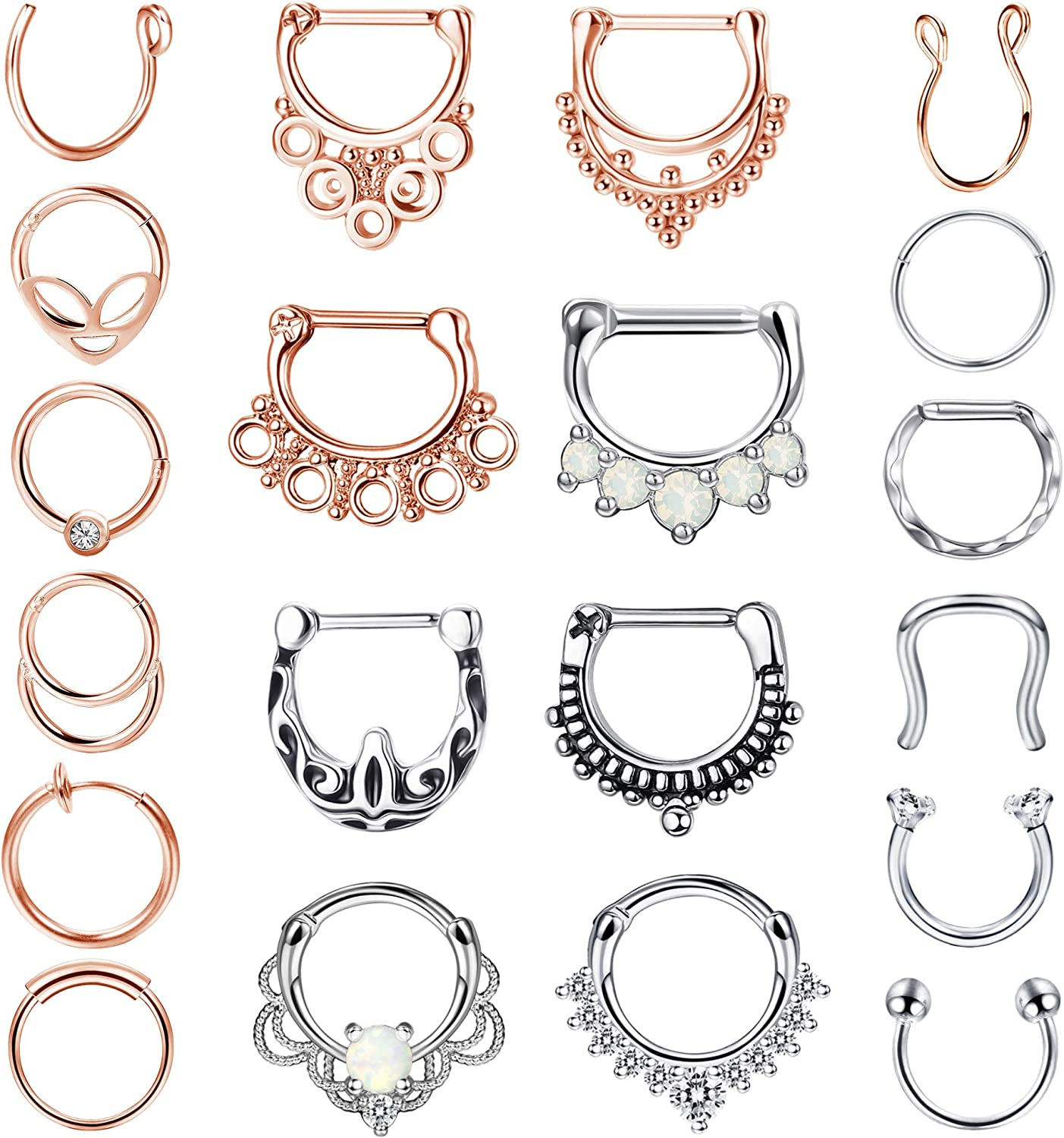 LOYALLOOK 20PCS 16G Stainless Steel Septum Clicker Hoop Nose Rings Horseshoe Lip Tragus Cartilage Ring Septum Body Piercing Jewelry for Women Men