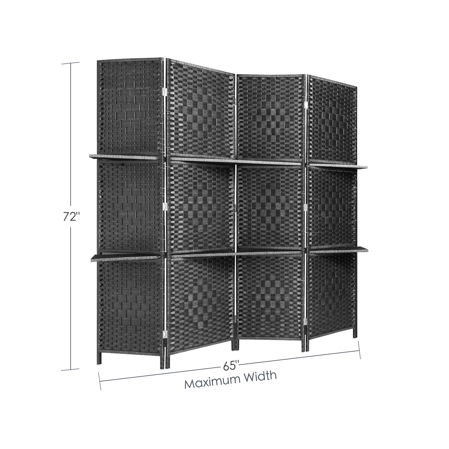 RHF 6 ft Tall (Extra Wide) Diamond Room Divider,Wall divider,Room dividers and folding privacy screens,Partition Wall, With 2 Display Shelves&room divider with shelves-DarkMocha-4 Panels 2 Shelves by Rose Home Fashion (Image #5)