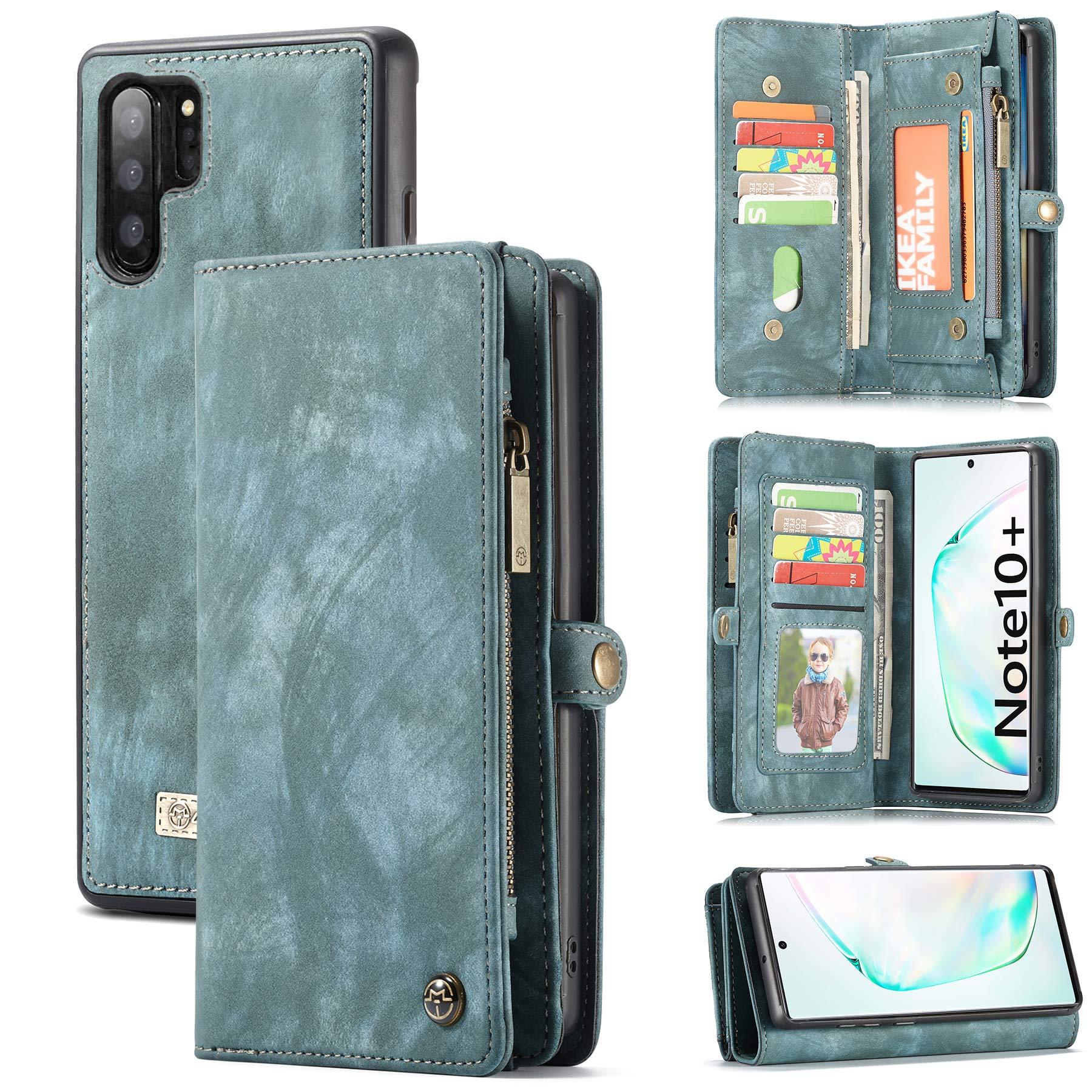 Galaxy Note 10/10+ Plus Wallet Case, Zttopo 2 in 1 Premium Leather Zipper Detachable Magnetic 11 Card Slots Folding Flip Money Pocket Clutch for Note 10/10plus (Blue-Green, Galaxy Note 10 Plus) by Zttopo