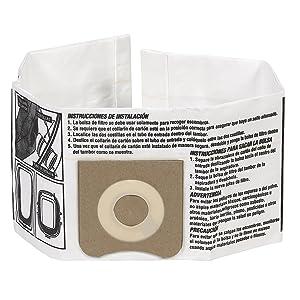 WORKSHOP Wet Dry Vacuum Bags WS32045F Fine Dust Collection Shop Vacuum Bags (2 Shop Vacuum Bags), Bag Filter For WORKSHOP 3-Gallon To 4-1/2 Gallon Shop Vacuum Cleaners