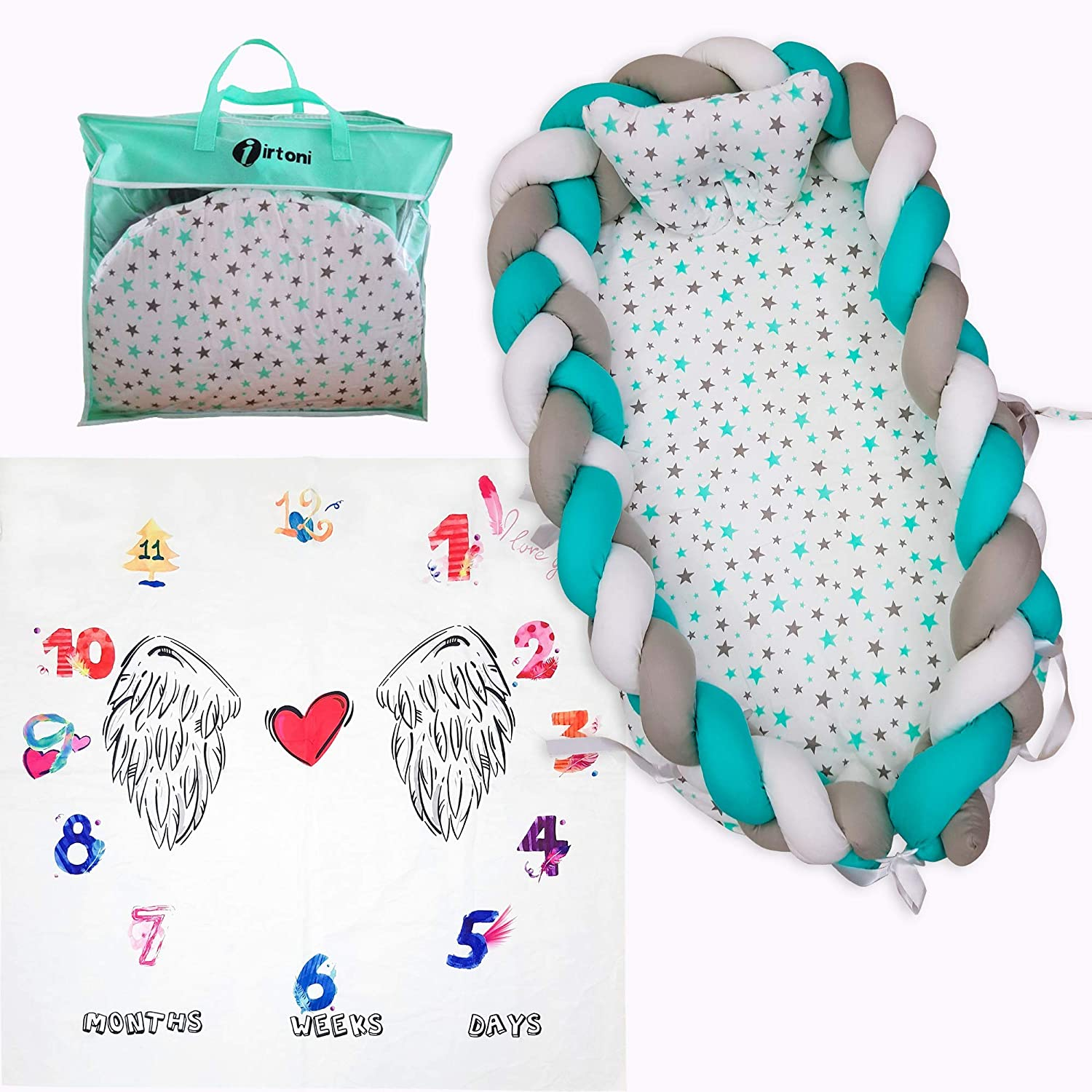 Irtoni Pillow and Baby Milestone Perfect for Traveling and Napping Newborn Lounger Crib Breathable Baby Nest Portable Bassinet Bed for Co-Sleeping Infants /& Toddlers New Ultra Soft Cotton