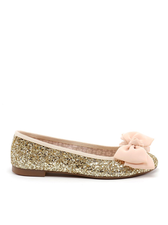 Misu Bailarina Lazo Gasa Damen Ballerina Schuhe Schleife Pailletten Gold