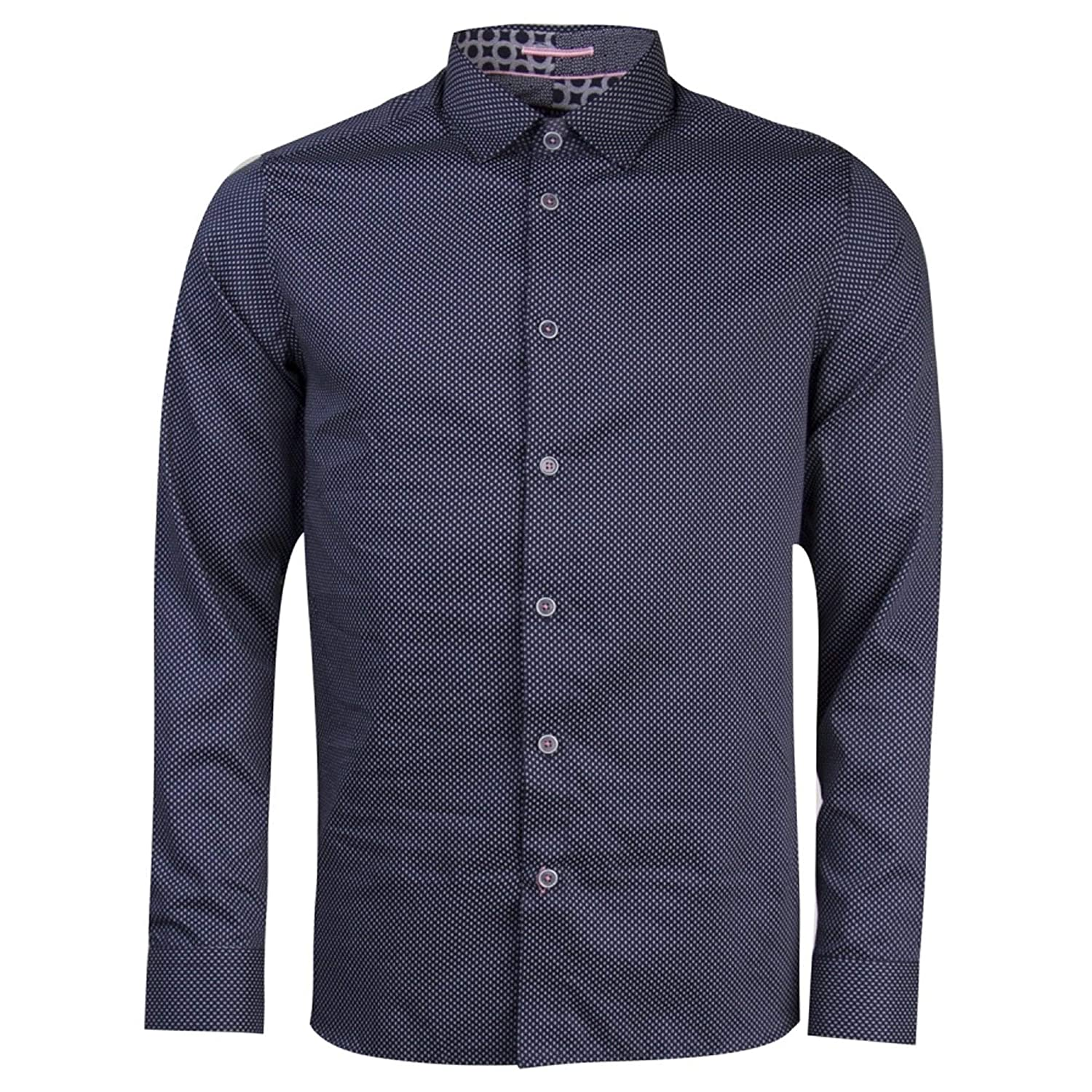 4f210ea4a Ted Baker Boomtwn L S Micro Geo Printed Shirt Navy Small (TED Size 2)   Amazon.co.uk  Clothing