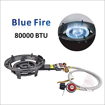 80,000BTU BBQ Cast Iron Propane Burner Stove Camp Adjust Cooking Gas Grill Stove
