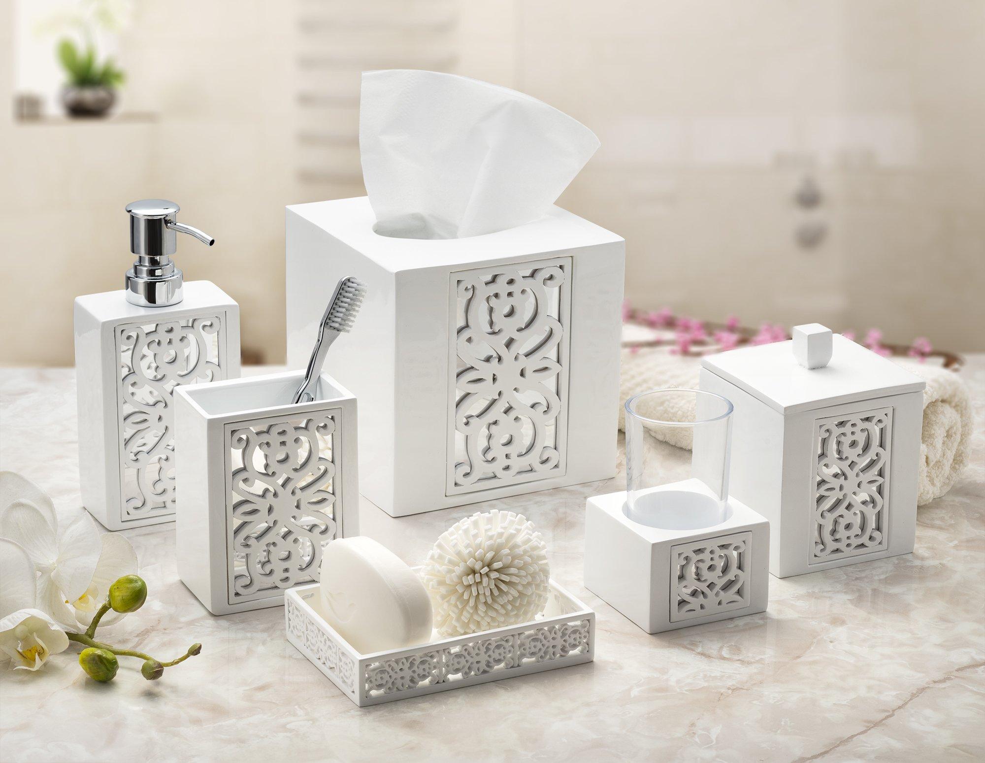 Dwellza Mirror Janette Bathroom Accessories Set, 4 Piece Bath ...