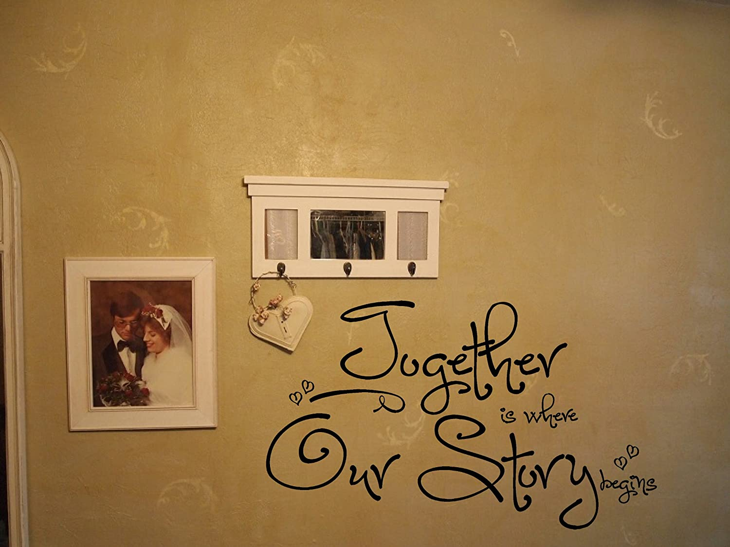 21-Inch x 36-Inch Beige Wall Decor Plus More WDPM2478 Together is Where Our Story Begins Decorative Wall Sticker Lettering