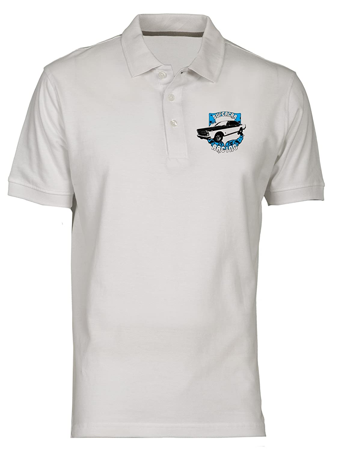 Polo por Hombre Blanco T0272 Super Car Racing Auto Moto Motori ...