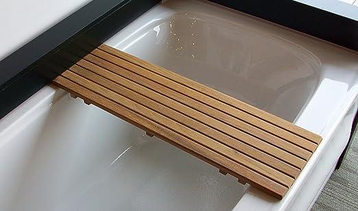 Amazon.com: Adjustable Teak Bathtub Shelf Seat   For tubs from 20-1 ...