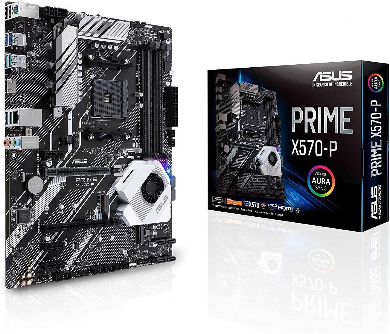 ASUS PRIME X570-P - Placa base ATX AMD AM4 con PCIe 4.0, 12 etapas de potencia DrMOS, DDR4 4400MHz, dos M.2, HDMI, SATA 6 Gb/sy conector USB 3.2 Gen. ...