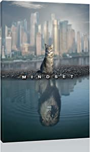 """Inspirational Wall Art Posters for Home Office, College Dorm, Motivational Quote Decor Canvas, Encouraging Positive Growth Mindset Quotes for Classroom (12""""W x 18""""H, Mindset Cat Lion)"""