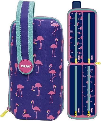 Estuche milan kit 4 estuches con contenido flamingos: Amazon.es: Oficina y papelería