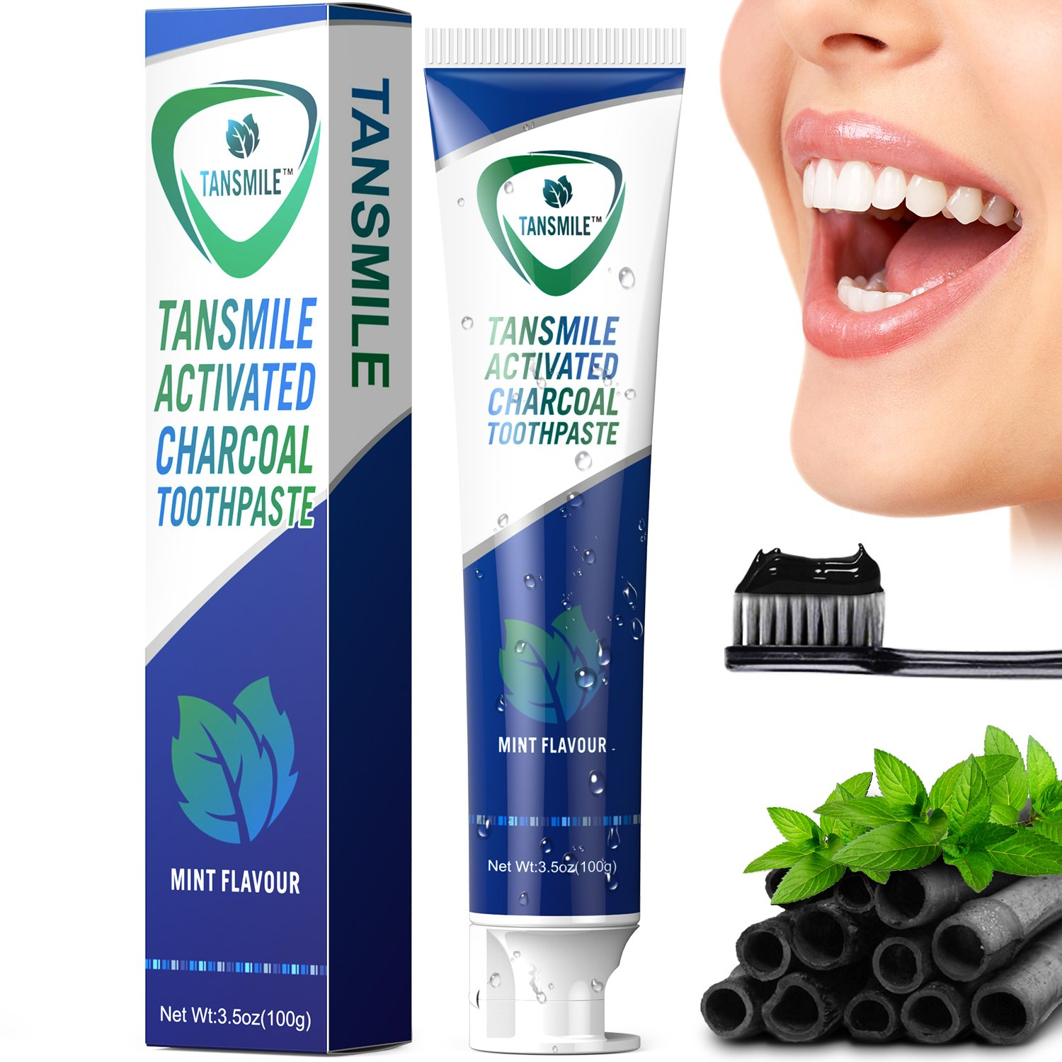 charcoal teeth whitening toothpaste tansmile natural activated charcoal 603335805779 ebay. Black Bedroom Furniture Sets. Home Design Ideas