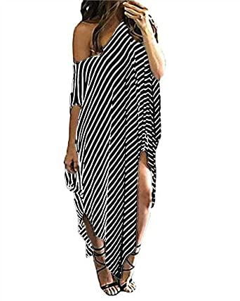 Kidsform Womens Off Shoulder Dress, Summer Loose Striped Short Sleeve Irregular Cocktail Party Evening Dress