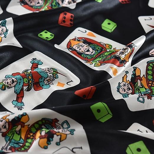 Negro feliz y brillante colores Jokers impresa satén tela ...