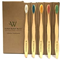 WAM BAM BOO - Bamboo Toothbrushes - Family Pack of 5 Toothbrushes - ECO Friendly Products - UK Design - Natural Wooden Toothbrush - Vegan Friendly - Soft to Medium Bristles, Plastic Free Packaging