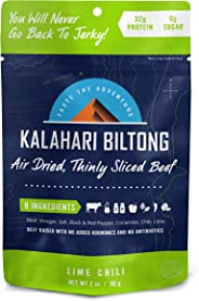Lime Chili Kalahari Biltong, Air-Dried Thinly Sliced Beef, 2oz (Pack of 1), Sugar Free, Gluten Free, Keto & Paleo, High Prot