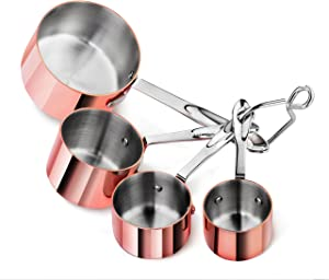 Artaste 43150 Stainless Steel 18/8 Measuring Cups Brass Plated (Set of 4), Brass and Silver